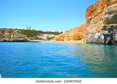 Beautiful sand beach on the Atlantic Coast near Portimao in Algarve, Portugal