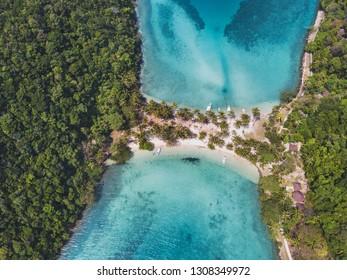 beautiful sand beach in Thailand, aerial view of Ko Ngam island near Koh Chang, Trat