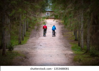 Beautiful sand forest path with two cyclists. Old wooden house at road end.