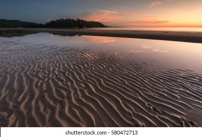 beautiful sand pattern during sunset at Kudat Sabah Malaysia.