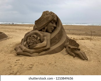 The beautiful sand sculpture on the beach