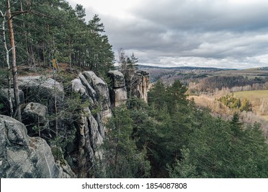 Beautiful sandstone rocks of Bohemian Paradise, Czechia. An autumn landscape with sandstone rock towers near Turnov (Cesky raj), Czech republic.