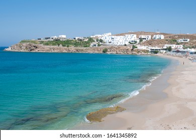 The beautiful sandy beach of Agios Stefanos ancient village on the island of Mykonos is located three Km north-west of the city of Mykonos, Cyclades islands, Aegean sea, Greece, Europe