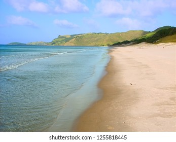 Beautiful sandy beach along the coast of Northland in New Zealand