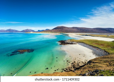 The beautiful sandy beach and clear turquoise sea at Seilebost on the isle of Harris in the Western isles of Scotland