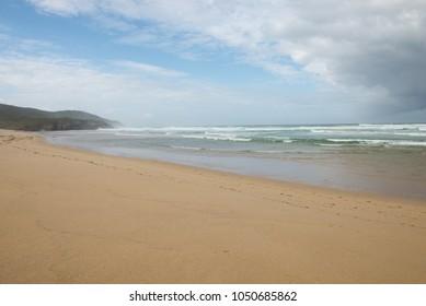 Beautiful sandy beach at the Coasta del Ferrolterra in Galicia, Spain