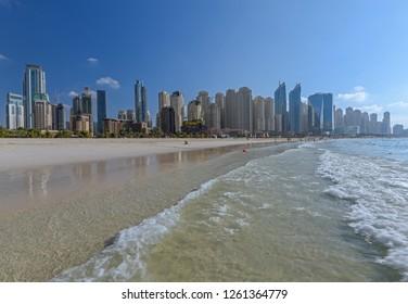 Beautiful sandy beach In Dubai (Jumeirah Beach Residence JBR).