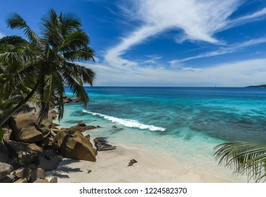 Beautiful sandy beach with granite boulders and palm trees.La Digue. Seychelles