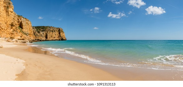 Beautiful sandy beach near Lagos in Ponta da Piedade Algarve region Portugal.