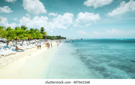 Beautiful sandy beach on Cozumel island, Mexico