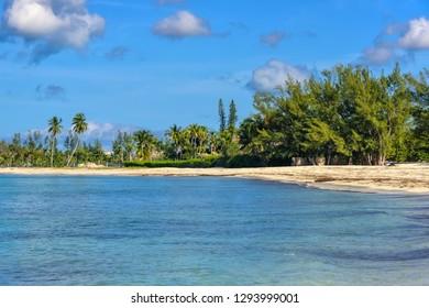 Beautiful sandy beach on the island of Nassau, Bahamas