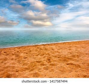 beautiful sandy beach on the Mediterranean coast sea