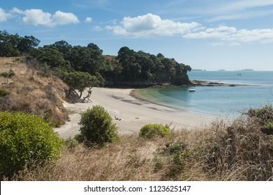 Beautiful, sandy beach on Motuehi Island in the Hauraki Gulf, Auckland, New Zealand.