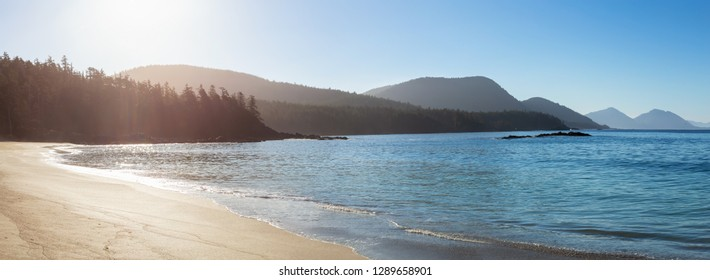 Beautiful sandy beach on the Pacific Ocean during a sunny summer morning. Taken in Grant Bay Beach, Northern Vancouver Island, BC, Canada.