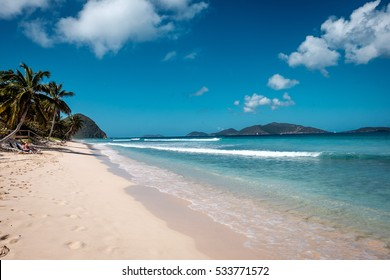 Beautiful sandy beach on Tortola, British Virgin Islands, Caribbean