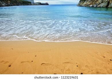 Beautiful sandy beach Orzan in La Coruna, Spain