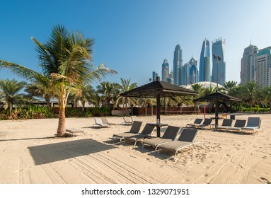 Beautiful sandy beach with palm trees and views of the skyscrapers of Dubai Marina.