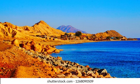 Beautiful sandy beach in Sinai Peninsula, where desert meets Red Sea, near Nuweba, Egypt, Middle East