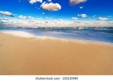 beautiful sandy beach at sunrise