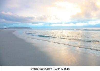 Beautiful sandy beach at sunset