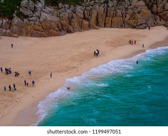 The beautiful sandy beaches in Cornwall England - CORNWALL / ENGLAND - AUGUST 12, 2018