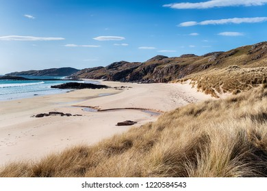 Beautiful sandy beaches at Oldshoremore near Kinlochberivie in the Highlands of Scotland