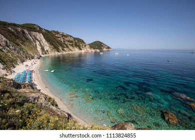 THE BEAUTIFUL SANSONE BEACH IN ELBA ISLAND (ISOLA D'ELBA) IN TUSCANY, ITALY