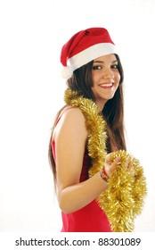 A beautiful Santa Claus wishes us happy holidays