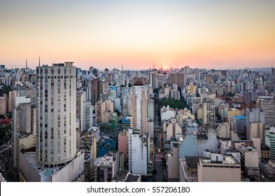 Beautiful Sao Paulo Skyline Sunset - Brazil - South America
