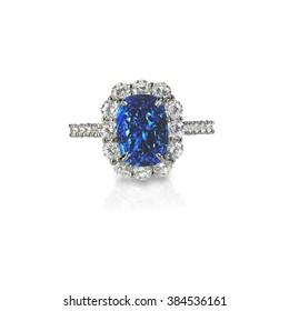 Beautiful sapphire and diamond wedding engagement ring gemstone center stone