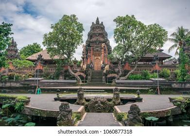Beautiful Saraswati temple in Ubud town on Bali, Indonesia