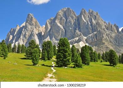 Beautiful Sassolungo mountain range, italian Alps
