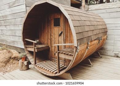 Beautiful sauna exterior shot