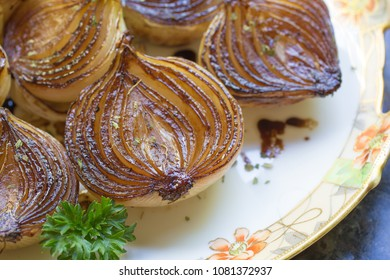Beautiful sauteed onions on a serving platter.