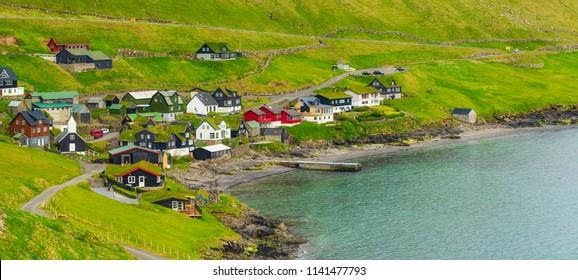 Beautiful Scandinavian Village, Located On The Faroe Islands, Settlement on Faroe Islands, Denmark
