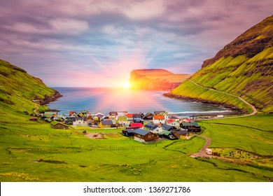 Beautiful Scandinavian Village Tjornuvik  in the Faroe Islands,Located On the north coast of Streymoy, Sunrise In Faroe Islands