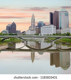 Beautiful sceen of Columbus Ohio with river and bridge