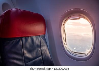 Beautiful scene of aeroplane window seat travel concept