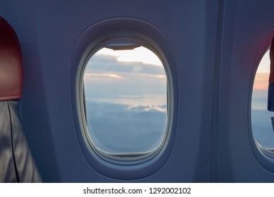Beautiful scene of aeroplane window seat