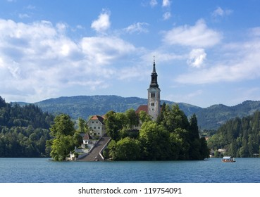 Beautiful scene of Bled Lake in Slovenia, Santa Maria Church is also captured in the picture.