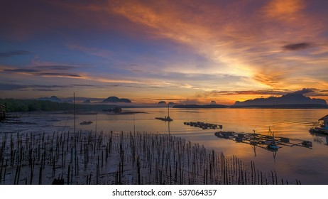 Beautiful scene in front of small fisherman village ,BanSamChongTai, in Phangnga province, Thailand.