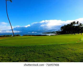 Beautiful Scene of Golf Green, Ocean and Beach in Lahaina, Maui, Hawaii