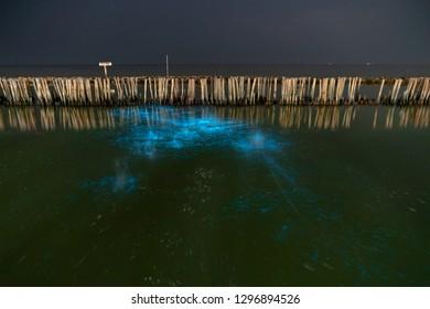 A beautiful scene of illuminate bioluminescent plankton glow blue fluorescent in night sea water at Red Bridge (Saphan Daeng) , Samut Sakhon near Bangkok Thailand.