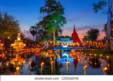 Beautiful scene of The light color Sukhothai Co Lamplighter Loy Kratong Festival at The Sukhothai Historical Park covers the ruins of Sukhothai, in what is now Northern Thailand.November 17, 2018