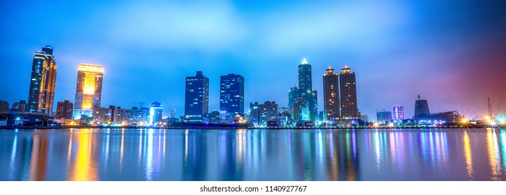 Beautiful Scene of The Love Pier At Dusk , Located in Kaohsiung, Taiwan.