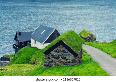 Beautiful  Scene Of Mikladalur village, located on the island of Kalsoy, Faroe Islands