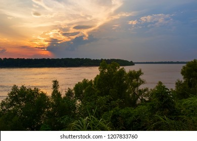 Beautiful scene with the Mississippi river at sunset near the city