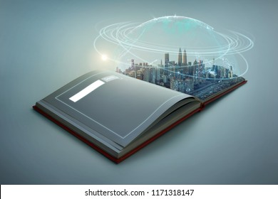 Beautiful scene of modern city skyline pop up in the open book pages with Global world telecommunication network connected around planet Earth .