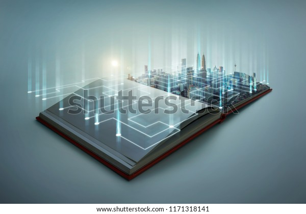 Beautiful scene of modern city skyline pop up in the open book pages with smart working data wireless connections iot automation system .