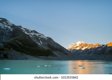 Beautiful scene of Mt Cook before the sunset with Glacier lake and blue sky, Hook Valley Track, South Island, New Zealand